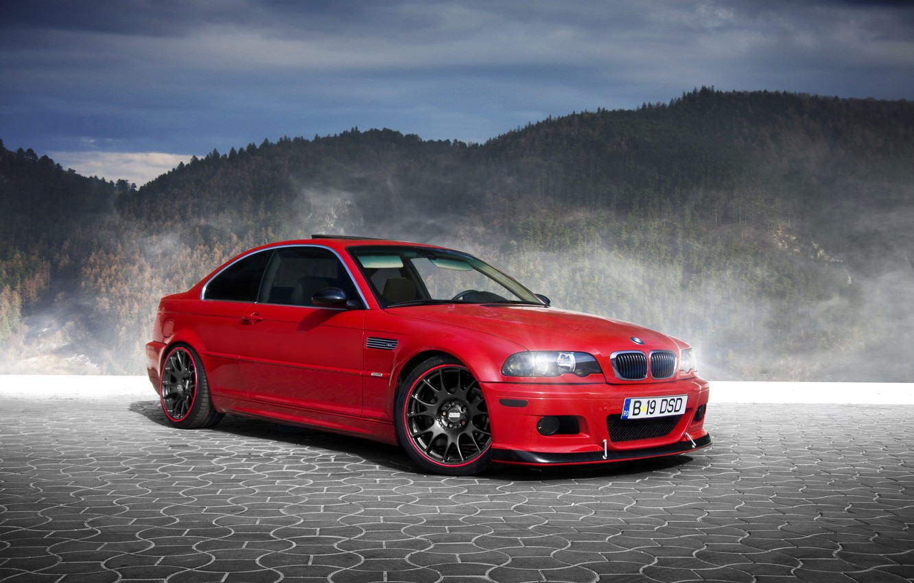 Photo wallpaper forest, mountains, red, fog, BMW, pavers, BMW, red, E46, BBS