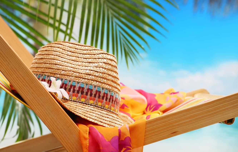 Photo wallpaper beach, nature, hat, chair