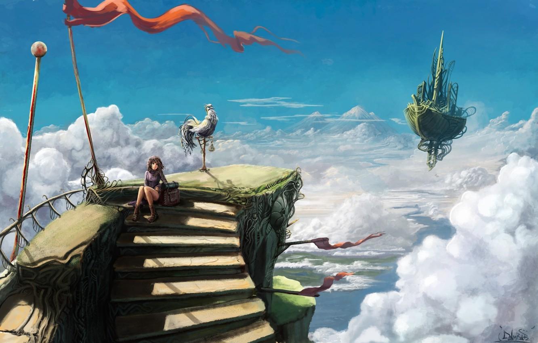 Photo wallpaper the sky, girl, clouds, bird, ship, height, art, ladder, steps, fantasy world, volatile, Luggage