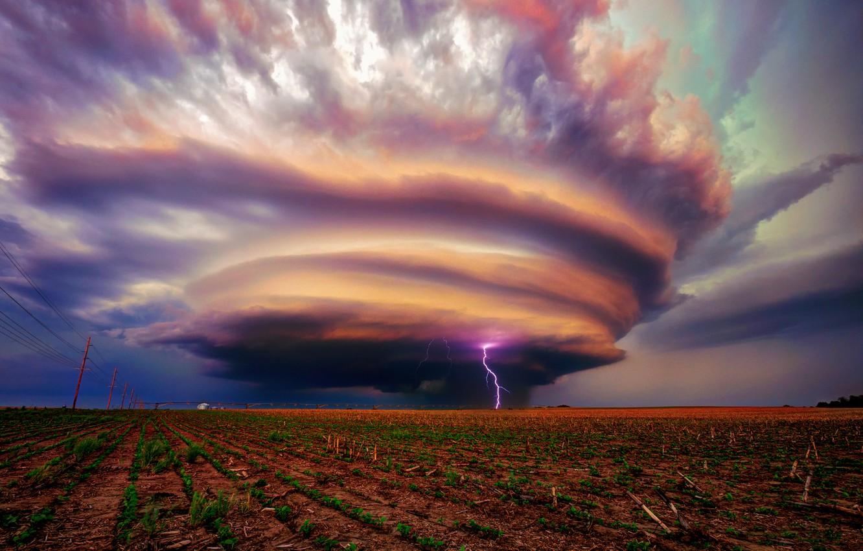 Photo wallpaper the storm, field, clouds, storm, zipper, USA, Ne