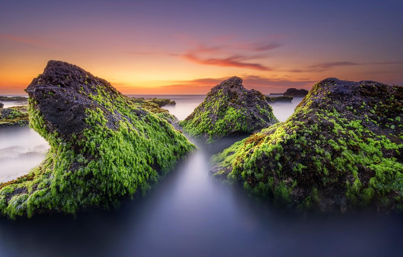 Photo wallpaper sea, landscape, sunset, stones