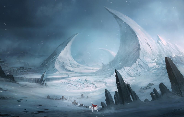 Photo wallpaper white, snow, landscape, mountains, red, stones, rocks, horse, rider, fantasy, art, cloak, Blinck