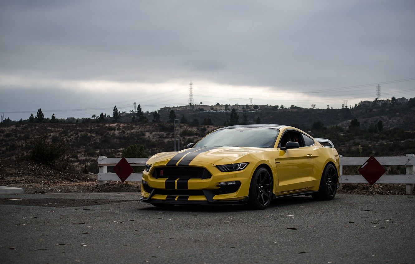Photo wallpaper Mustang, Ford, Shelby, Yellow, GT350R, 2016
