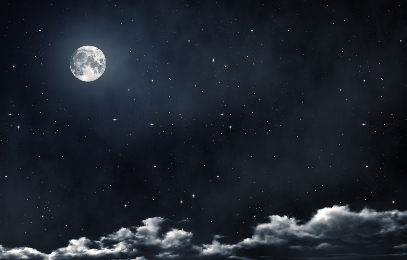Photo wallpaper clouds, night, the moon, stars