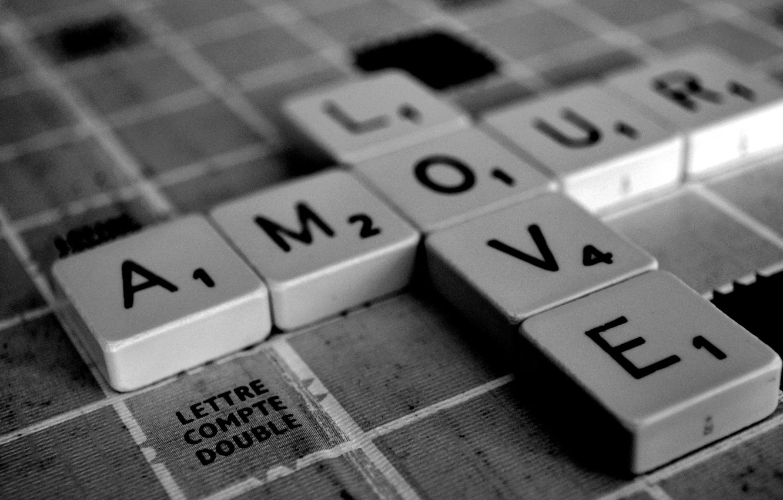 Photo wallpaper love, letters, squares