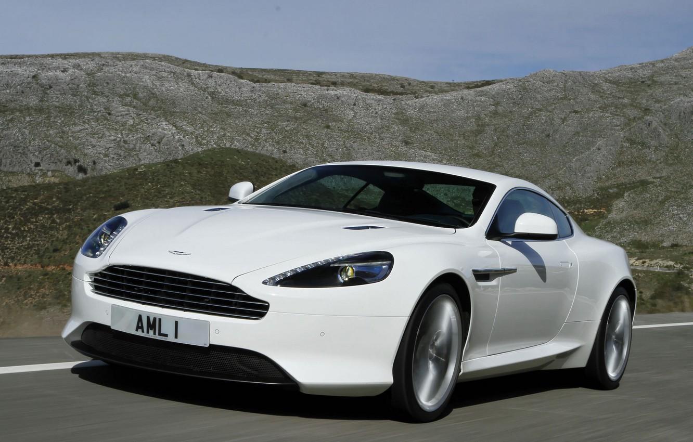 Photo wallpaper road, the sky, landscape, mountains, Aston Martin, coupe, virage