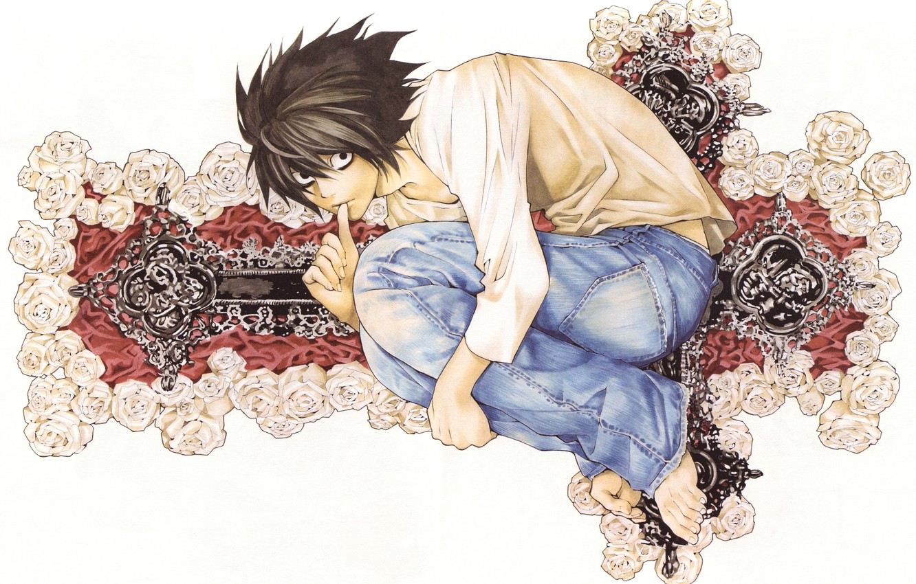 Photo wallpaper eyes, roses, cross, black hair, death note, Death note, art Takeshi Obata, oddity