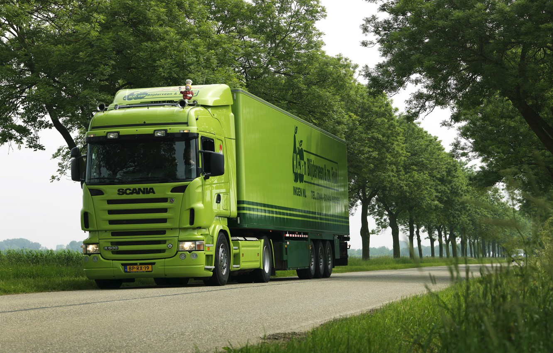 Photo wallpaper Road, Trees, Truck, Car, Green, Green, Truck, Scania, Tractor, The trailer, Scania, Scania Trucks, Grove, …