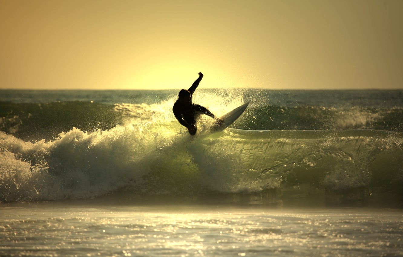 Photo wallpaper wave, water, the ocean, Board for surfing, surfing