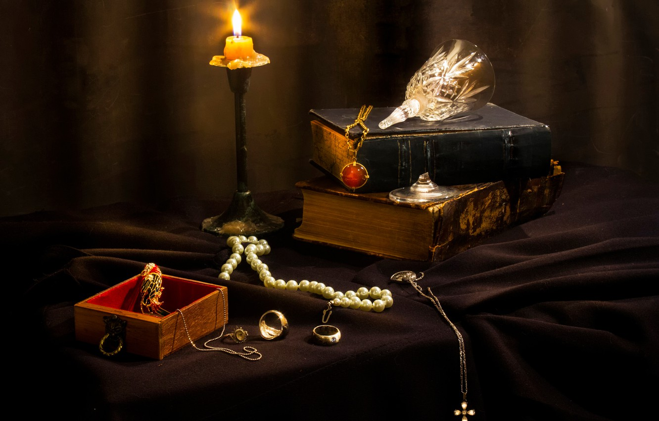 Photo wallpaper decoration, books, candle, jewelry, Misfortunes