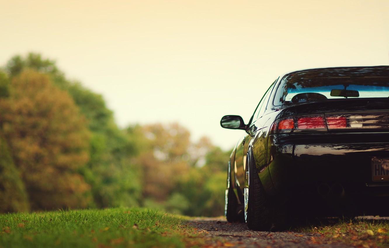 Photo wallpaper grass, trees, Nissan, silvia