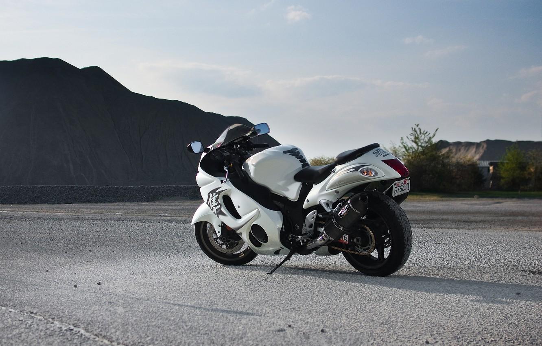 Photo wallpaper road, mountains, white, rear view, Suzuki, hayabusa, gsx1300r, suziki, Hayabusa