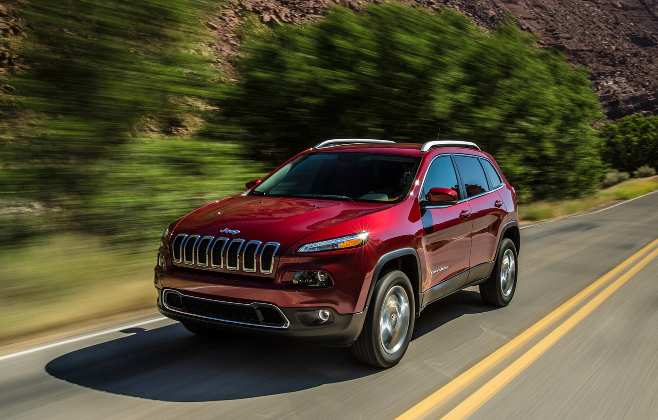 Photo wallpaper trees, track, limited, riding, Jeep Grand Cherokee, Jeep Grand Cherokee 2014