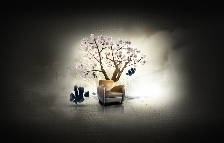 Photo wallpaper fish, tree, fish, chair, Sakura, Dilshan Arukatti, immersive-garden