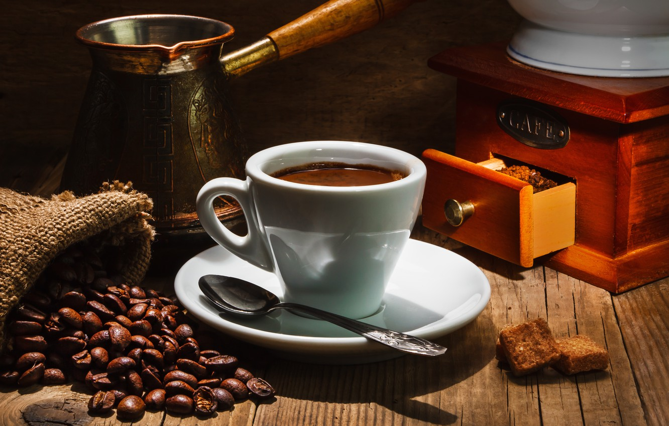 Photo wallpaper table, coffee, spoon, Cup, saucer, grain, pouch, box, Turk
