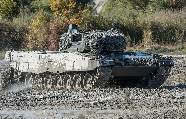 Photo wallpaper field, dirt, the barrel, tank, combat, Leopard 2, maneuvers
