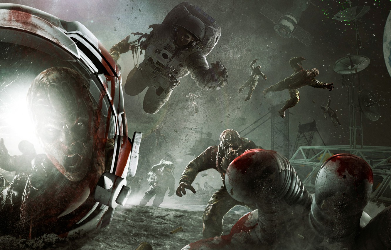 Photo wallpaper space, stars, earth, the moon, station, zombies, astronauts, Call of Duty, Zombie, The Moon, DLC