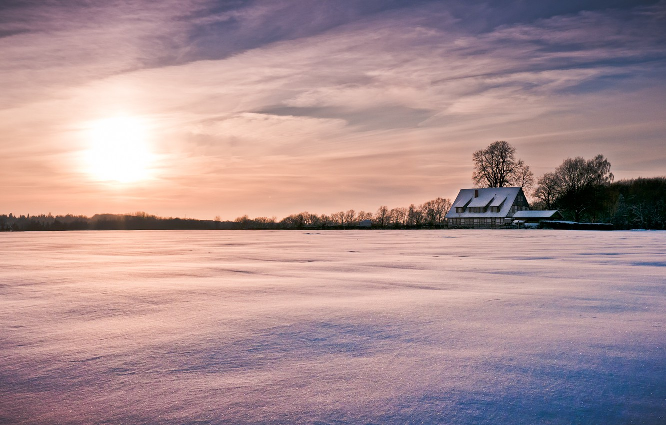 Photo wallpaper winter, the sky, the sun, clouds, snow, trees, nature, house, background, tree, Wallpaper, wallpaper, house, …