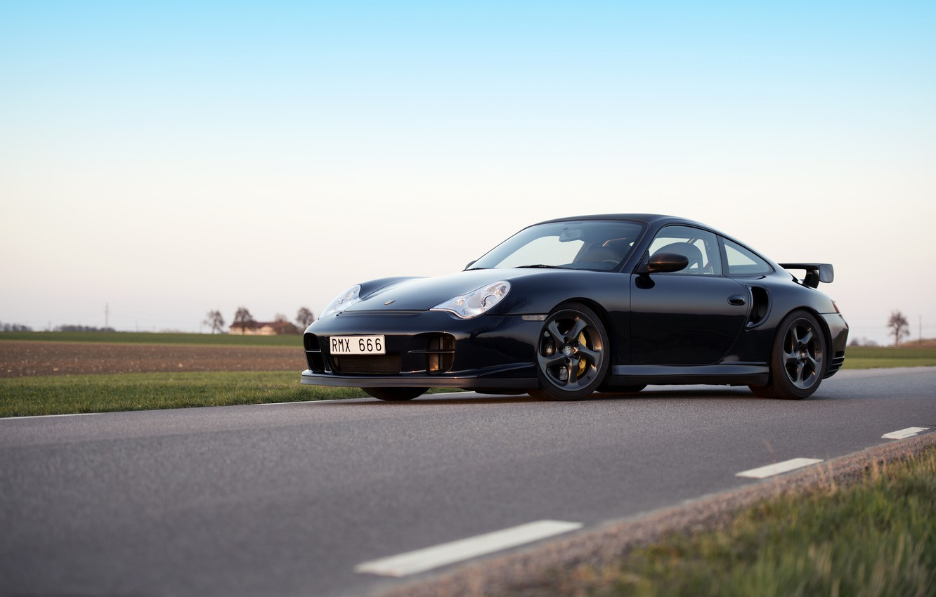 Photo wallpaper black, 911, Porsche, Porsche, black, GT2, 996