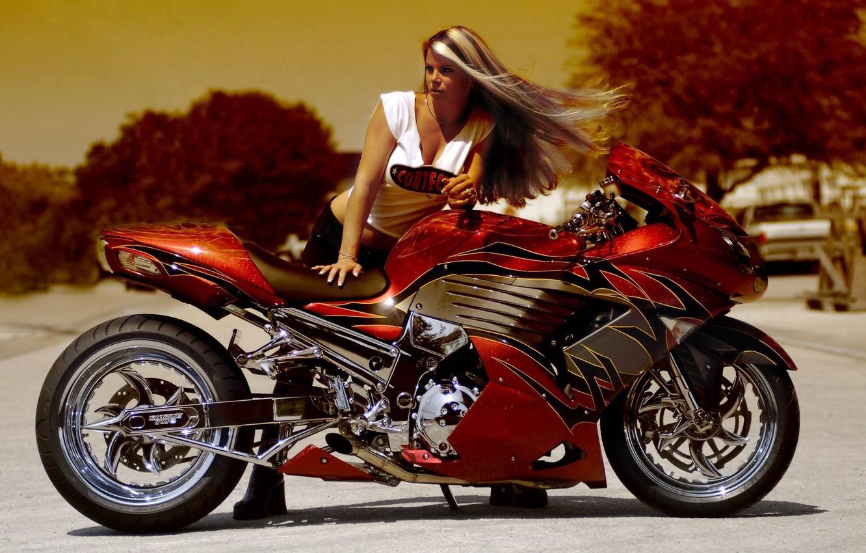 Photo wallpaper girl, tuning, sportbike