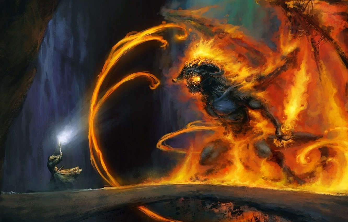 Photo wallpaper bridge, fire, magic, monster, the Lord of the rings, art, MAG, cave, Gandalf, the lord …