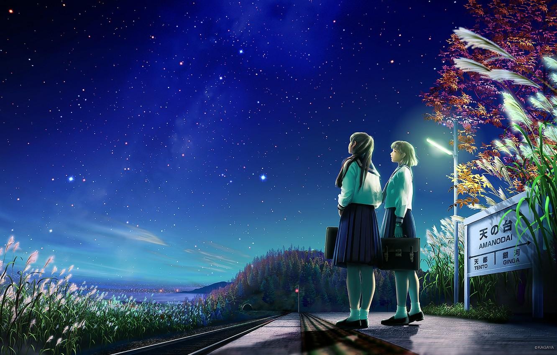 Photo wallpaper road, stars, night, nature, girls, sign, anime, art, form, Schoolgirls, kagaya