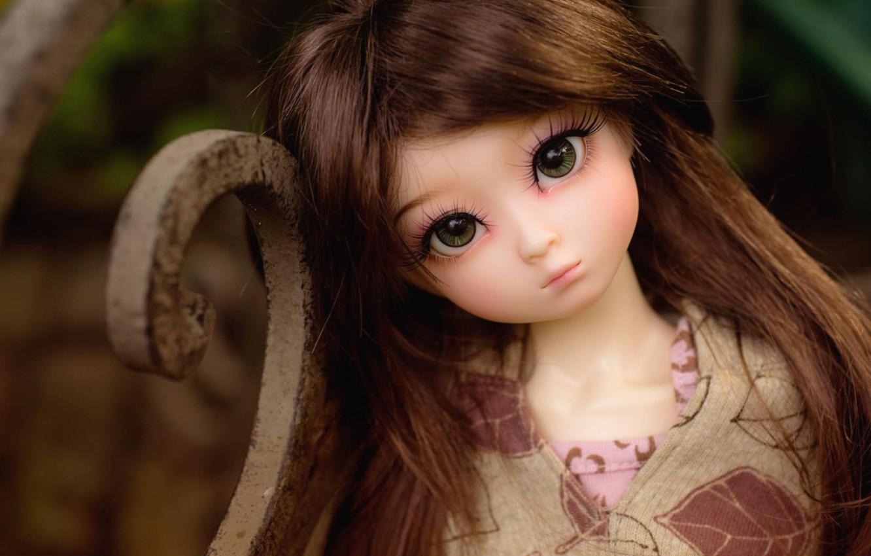 Photo wallpaper look, toy, doll, brunette