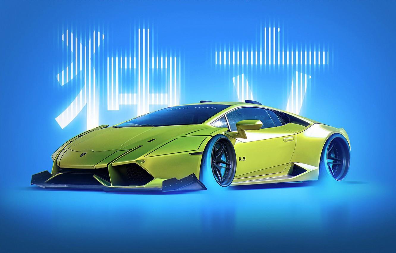Photo wallpaper Concept, Lamborghini, Japan, Style, Yellow, Future, Huracan, by Khyzyl Saleem