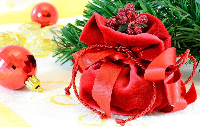 Photo wallpaper decoration, tree, new year, branch, gifts, new year, merry christmas, Christmas toys, pradnik, balls. bag