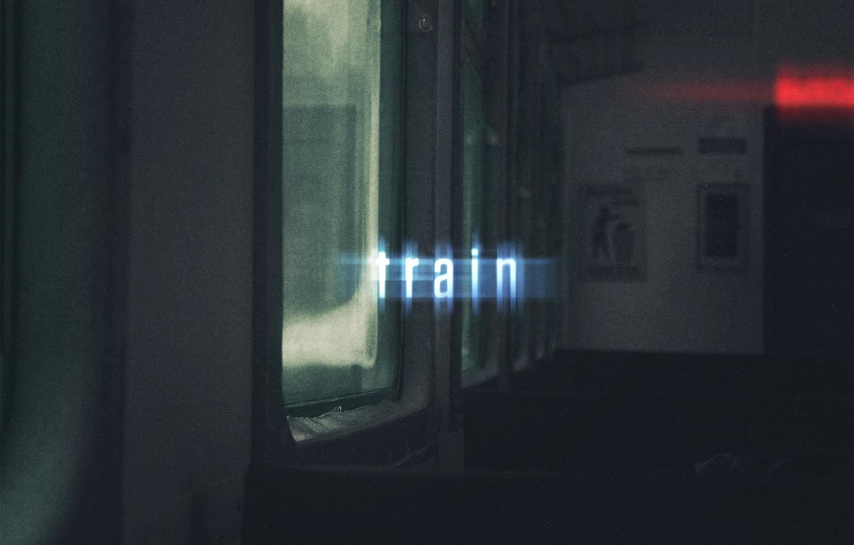 Photo wallpaper text, train, glow, window, light, wallpaper, seat, train, window