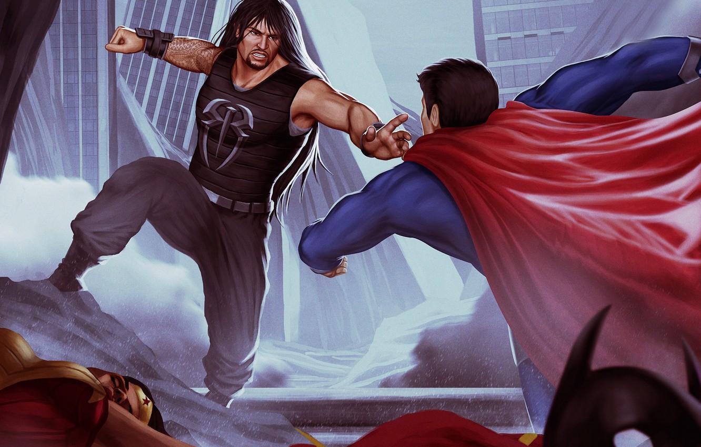 Photo wallpaper Superman, Punch, Roman Reigns
