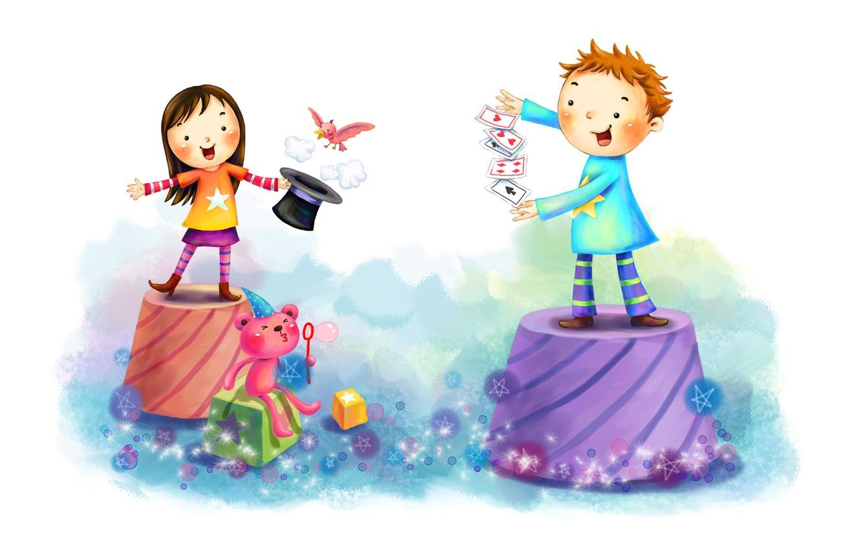 Photo wallpaper card, children, bird, cubes, figure, boy, bubbles, girl, fun, animal, tricks