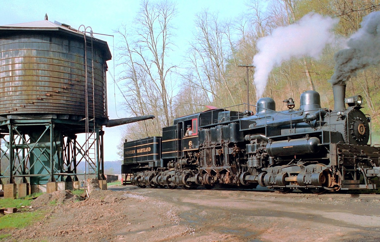 Photo wallpaper smoke, the engine, couples, VA, railroad, Shay No. 6, filling with water, Western Maryland, the …