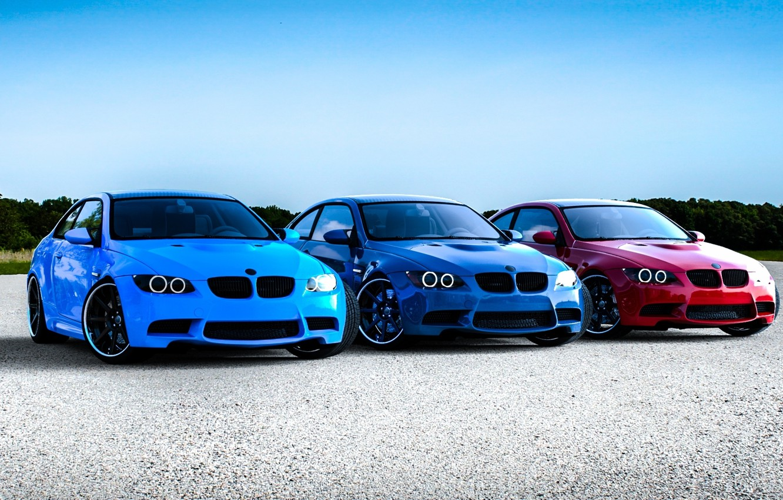 Photo wallpaper blue, red, blue, bmw, BMW, red, blue, e92, running lights
