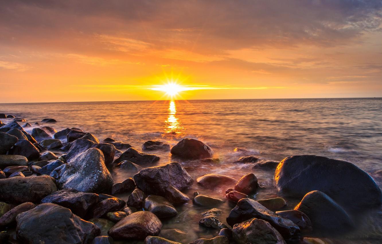 Photo wallpaper sea, beach, the sun, sunrise, stones, morning