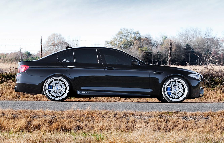 Photo wallpaper black, BMW, BMW, profile, drives, black, f10, tinted