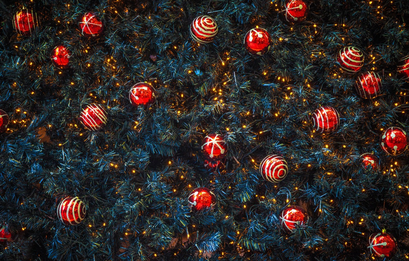 Photo wallpaper balls, spruce, New Year, Christmas, red, decoration, needles, Christmas, New Year, decor, Xmas, Merry, 2016