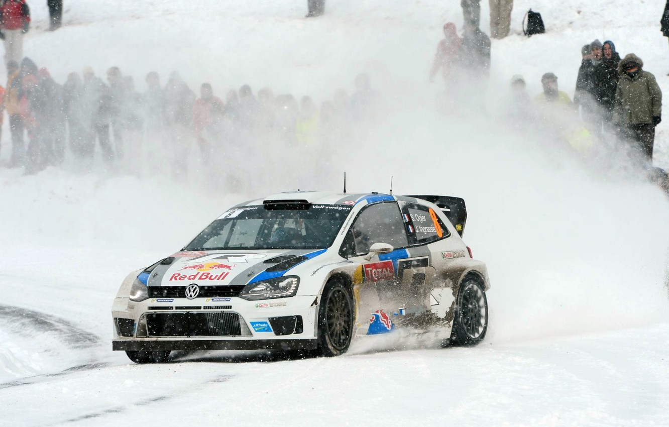 Photo wallpaper Winter, Auto, White, Snow, Sport, Volkswagen, Machine, Red Bull, WRC, Rally, Rally, Polo, Sebastien Ogier, ...