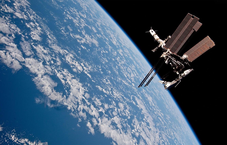 Photo wallpaper clouds, Earth, ISS, progress