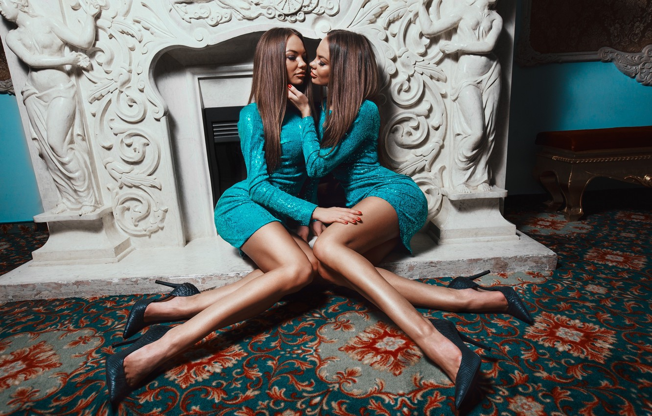 Photo wallpaper Hot, Sexy, Girls, Look, Twins, Passion, Twin