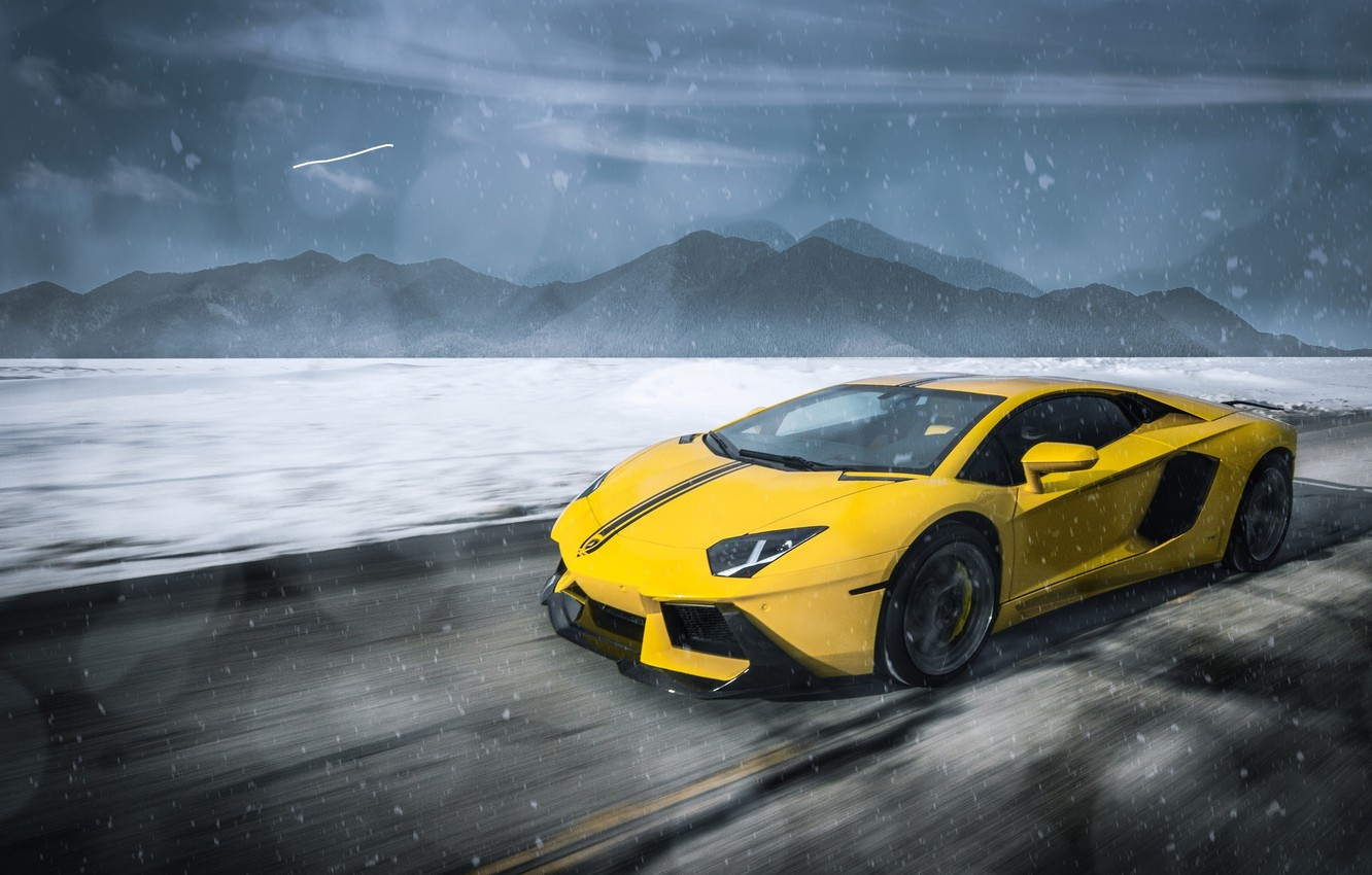 Photo wallpaper Lamborghini, Clouds, Speed, Front, Snow, Yellow, LP700-4, Aventador, Supercars, Mountains, Wheels, ADV.1, Ligth