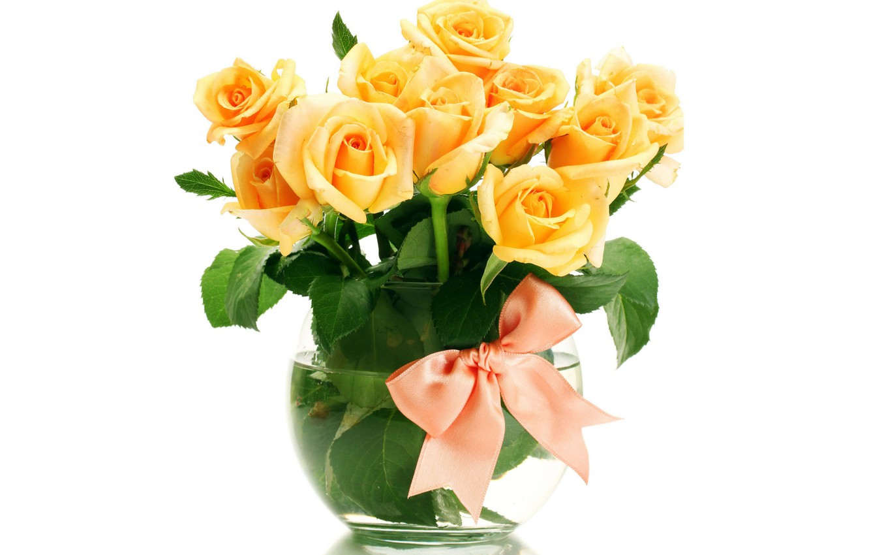 Photo wallpaper flowers, roses, bouquet, vase, orange, bow, white background