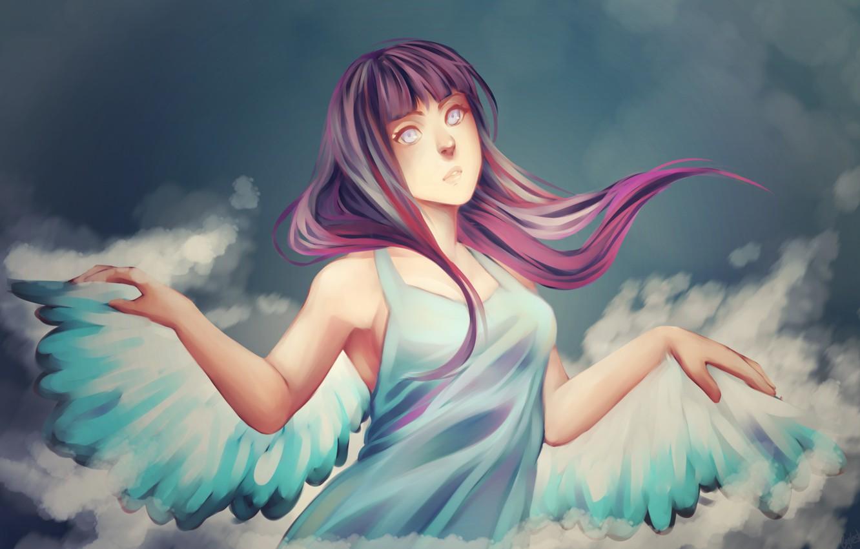 Photo wallpaper wings, angel, naruto, art, kunoichi, hinata hyugo, msblacktea