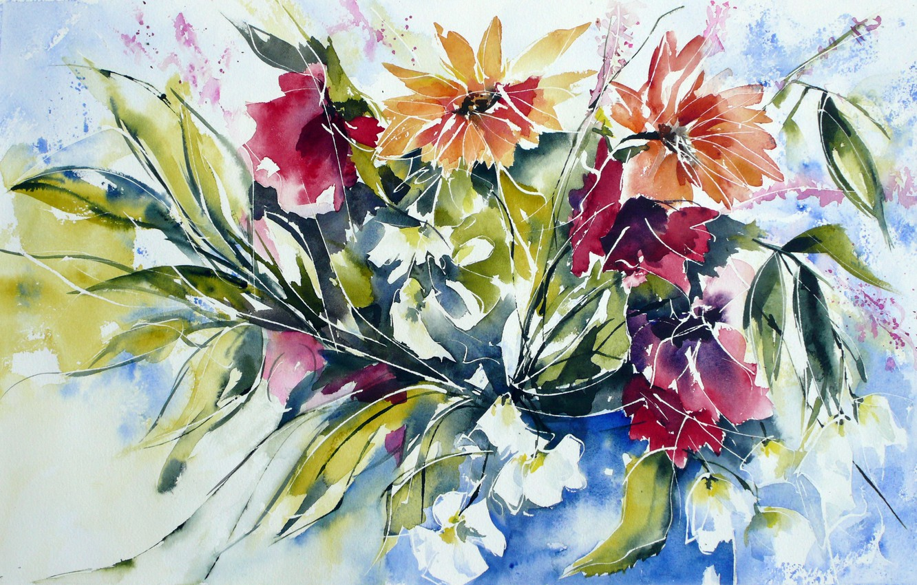 Photo wallpaper flowers, watercolor, painting