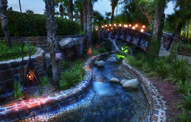 Photo wallpaper bridge, stream, lamp, Tale, palm trees