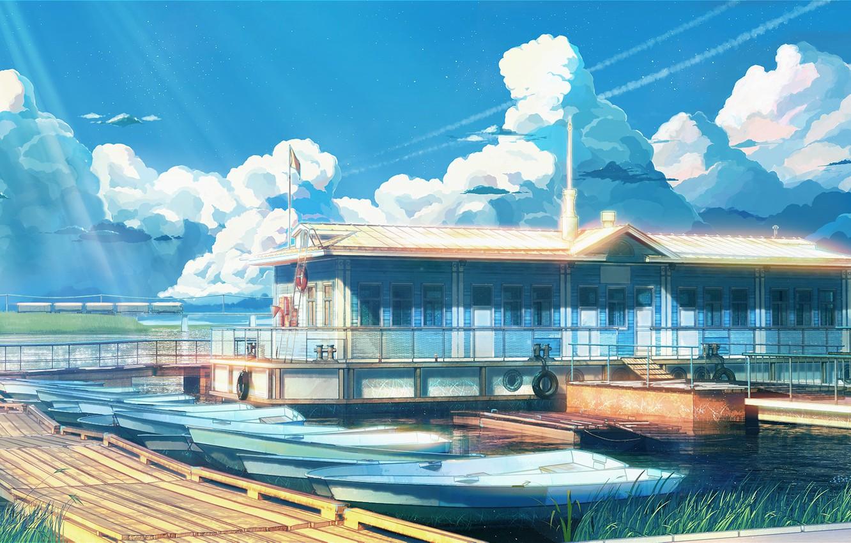 Photo wallpaper sea, Marina, boats, everlasting summer, endless summer, iichan-eroge
