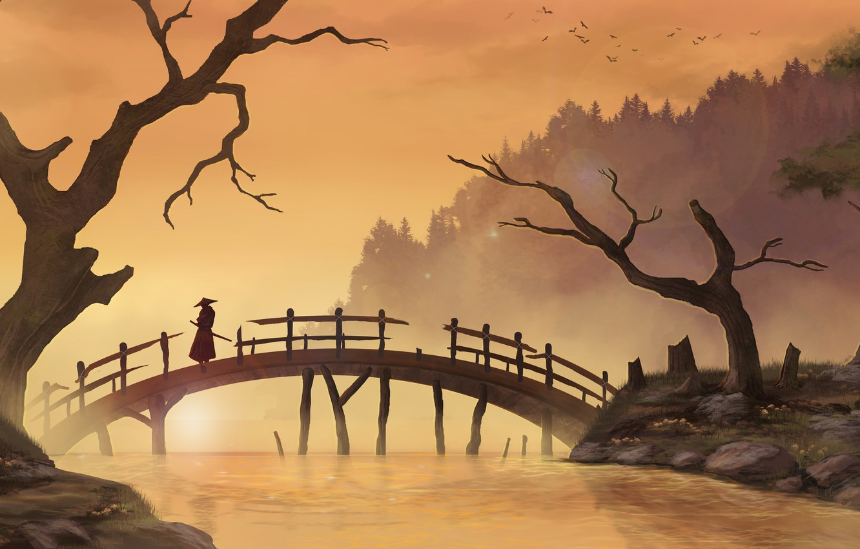 Photo wallpaper trees, bridge, river, Asia, art, samurai, male