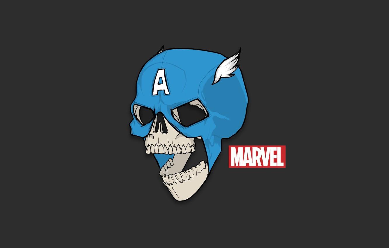 Photo wallpaper Red, Minimalism, Blue, Skull, White, Humor, Red, Art, Art, Blue, Sake, White, Marvel, Captain America, …