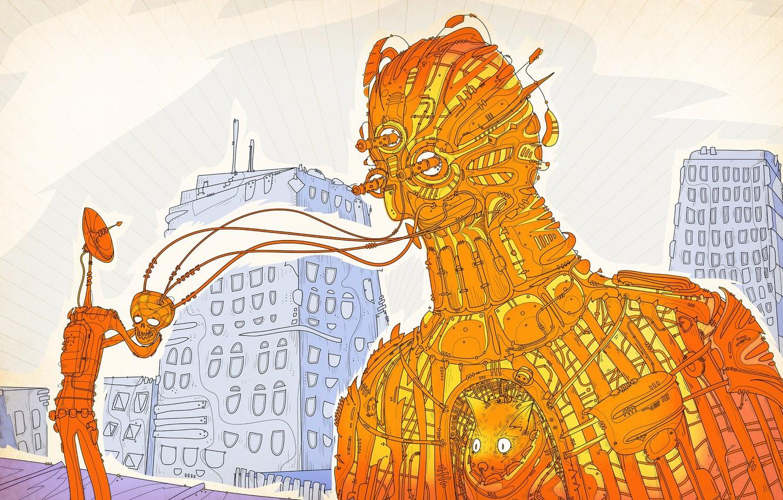 Photo wallpaper abstraction, building, robot, being, matei apostolescu