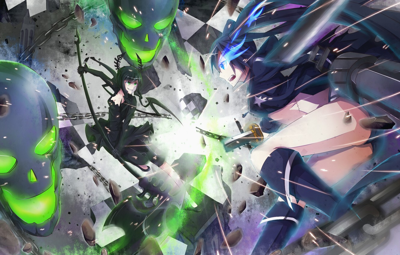 Photo wallpaper weapons, girls, katana, anime, art, skull, braid, battle, chain, black rock shooter, dead master, insane …